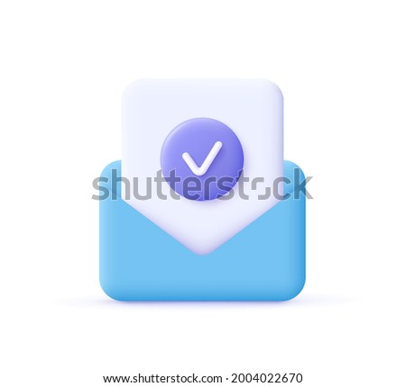 Check mark icon. Approvement concept. Document and postal envelope. 3d realistic vector illustration.