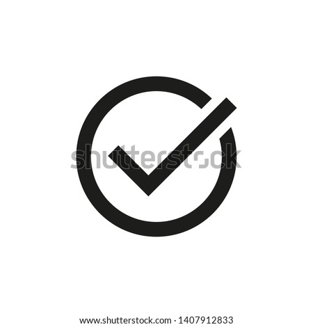 Check mark icon in a circle. White background. Vector. Isolated.