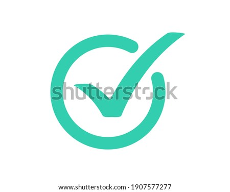 Check mark icon isolated on white background. Green tick, check list icon. Vector illustration.