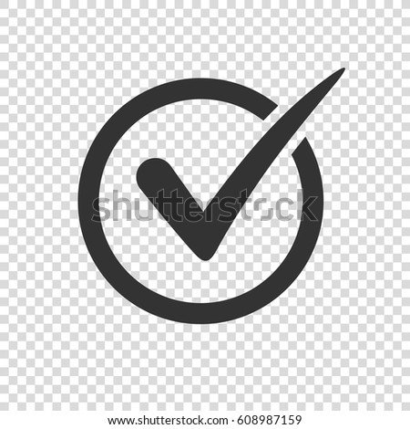 Check mark icon on transparent background. Check Mark or Tick. Check mark icon vector illustration. Check mark symbol. Tick sign for web and design. Tick design element vector illustration. Tick icon