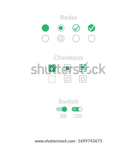 check mark icon set. Radio, checkbox and switch check mark used for choice between one of two possible mutually exclusive options. GUI, HTML CSS Radio, Checkbox and switch template.