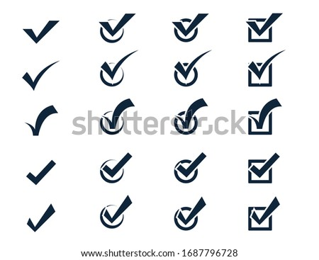Check mark icon set, Vector black confirm symbol. conceptual to confirm acceptance of a positive passed agreement on voting true or completion of tasks in the list