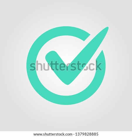 Check Mark icon symbol. Tick and cross signs. Green checkmark icon, isolated on white background. Choice button checklist. Ok mark selected test sign. Vote symbol tick.