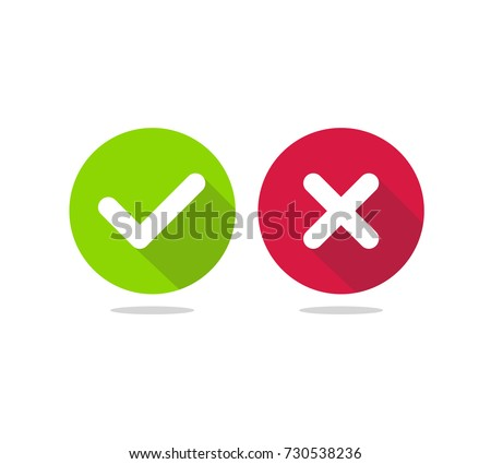 check mark icon. Tick and cross signs. Vector illustration.