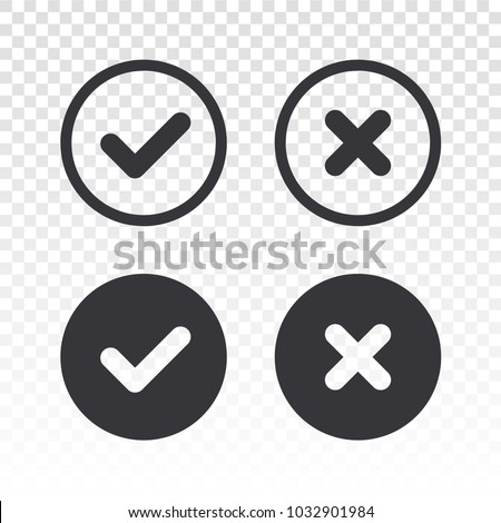 Check mark icon. Vector check mark. Wrong sign. Reject icon. Cancel icon. Vector illustration, color easy to edit. Transparent background.