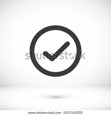 Check mark icon vector illustration. Linear symbol with thin outline. The thickness is edited. Minimalist style.