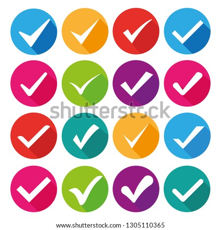 Check mark icon. Vector Illustration. Mega set 16 in 1