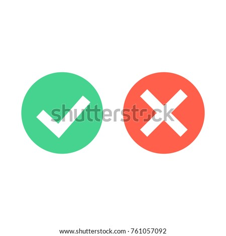 Check mark icons. Green tick and red cross checkmarks icons set. Flat cartoon style. Vector illustration.