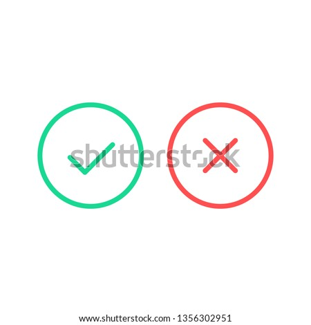 Check mark icons. Vector line icons set. Green tick and red cross checkmarks isolated on white background. Thin line design