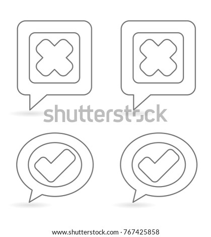 check mark inside speech box - outline icon