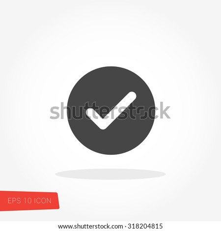 Check Mark Isolated Flat Web Mobile Icon / Vector / Sign / Symbol / Button / Element / Silhouette