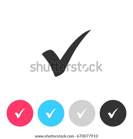 Check mark isolated on white background. Button with symbol for your design. Vector illustration, easy to edit.