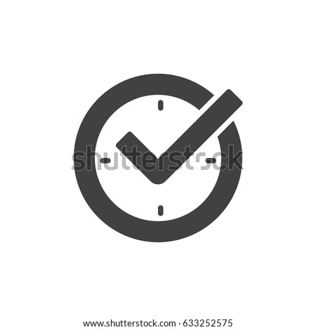Check mark on clock, real time protection icon vector, filled flat sign, glyph style pictogram isolated on white. Symbol, logo illustration. Pixel perfect