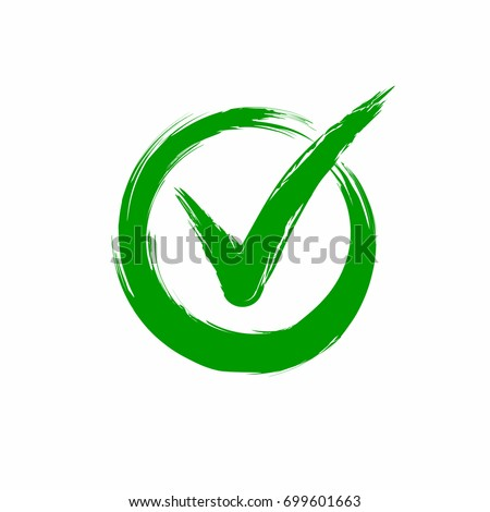 Check mark on white background. Tick icon grunge style, vector illustration.