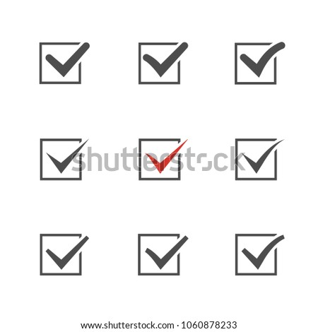 Check mark set over white.Red tic.Choice element .Agreement symbol.Answer icon. Foto stock ©