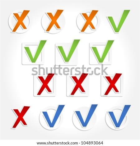 Check mark stickers. Vector - stock vector