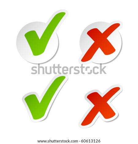 Check mark stickers. Vector.