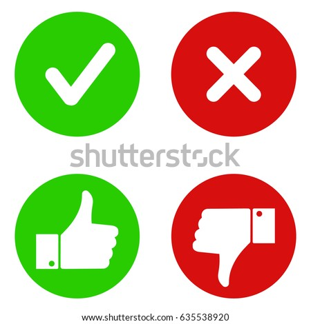 Check mark, thumb up sign. Vector. Isolated. Flat design.