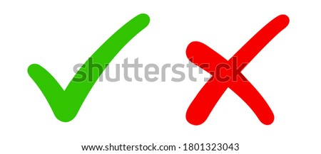 Check mark, tick and cross brush signs, green checkmark OK and red X icons, symbols YES and NO button for vote, decision, election choice icon - stock vector Сток-фото ©