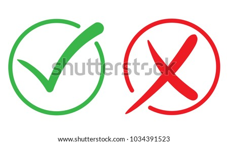 Check mark, Tick and cross icon. Green and red signs. Vector illustration