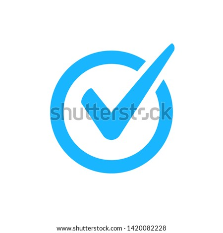 Check mark vector icon. Checkmark right symbol tick sign. Ok button correct circle icon.