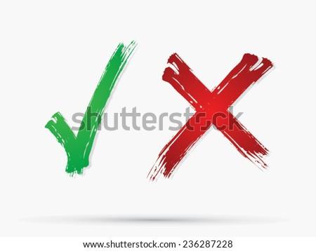 Check Mark ,X, Yes, No, icon, graphic, symbol, Vector.