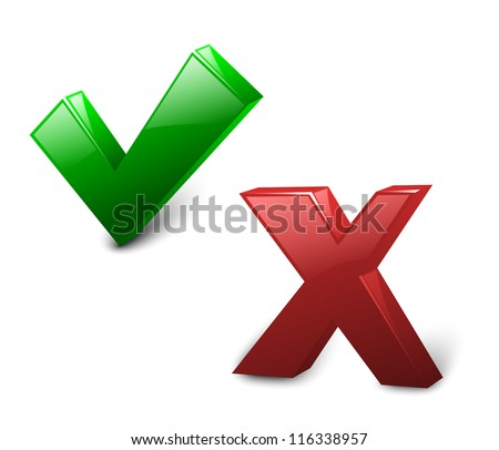 Check mark Yes and No. Vector Illustration