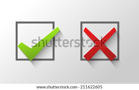 Check marks in boxes conceptual of confirmation acceptance positive passed voting agreement true or completion of tasks on a list ストックフォト ©