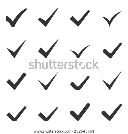 Check Marks or Ticks. Set of Sixteen Icons. Vector.