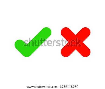 Check marks. Tick and cross vector icons. Yes and No symbols. Vector illustration