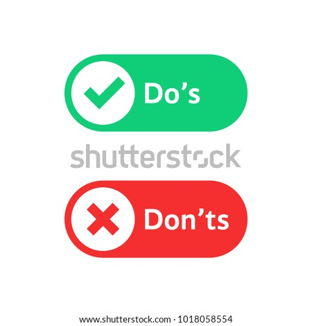 check marks ui button with dos and donts. flat simple style trend modern red and green checkmark logotype graphic design isolated on white. concept of poor or good test result or performance review Foto stock ©