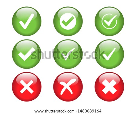 Check marks vector icon illustration buttons.