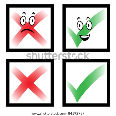 Check marks with funny cartoon faces, cross and tick in boxes, vector illustration