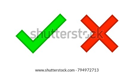 Check marks yes and no.Green checkmark OK and red X icons.Circle symbols YES and NO button for vote.Vector illustration round icons in a flat style isolated on white background.