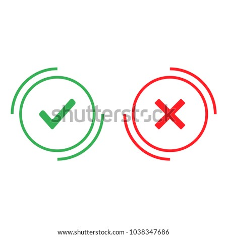 check ok or no vector icon flat design