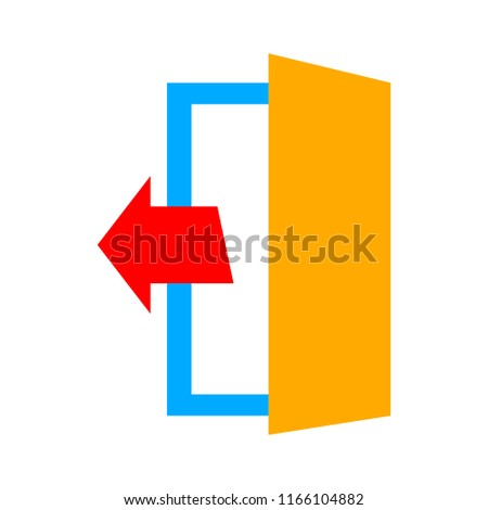 check out icon, emergency exit sign, exit door icon, exit strategy - door entrance