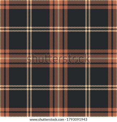 Check plaid pattern in brown, orange, beige. Seamless dark herringbone tartan plaid graphic for flannel shirt or other modern autumn winter textile print. Foto stock ©