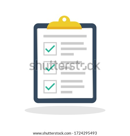 Check report icon in flat style. To do list symbol for your web site design, logo, app, UI Vector EPS 10. Foto stock ©