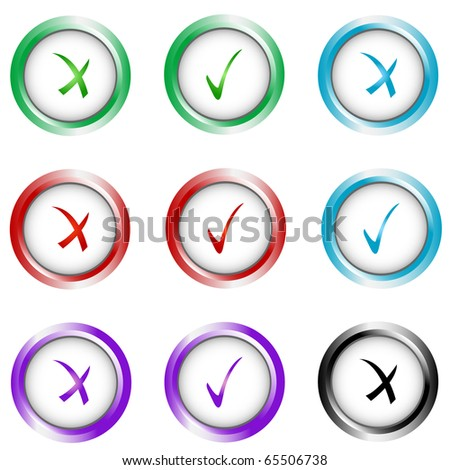 Check sign and tick sign set. Vector isolated