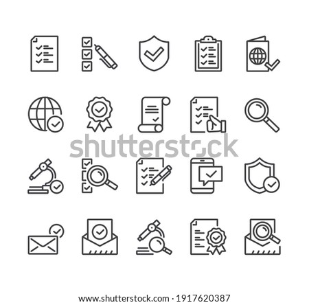 Check testing examination tick approve checkmark. Flat lined thin isolated icon set Photo stock ©