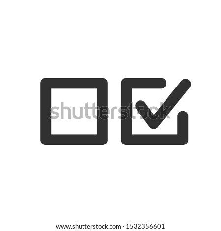 Check uncheck concept, Checkbox set with blank and checked checkbox line art vector icon for apps and websites