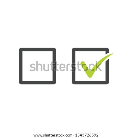 Check uncheck concept, Checkbox set with blank and checked checkbox line art vector icon for apps and websites. Stock Vector illustration isolated on white background.