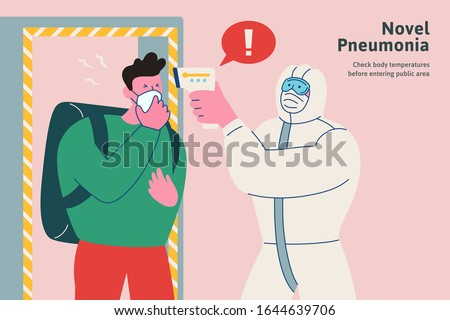 Check your body temperatures before entering public area during this period, novel pneumonia flat style , COVID-19 illustration