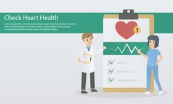 Check your heart health risk assess,Cardiovascular disease diagnosis,hypertension treatment, health check up, heart pulse trace, medical service,examine by specialist doctors and nurses,vector.