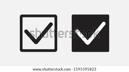 Checkbox icon in different style vector illustration. Filled and outline checkbox icons set