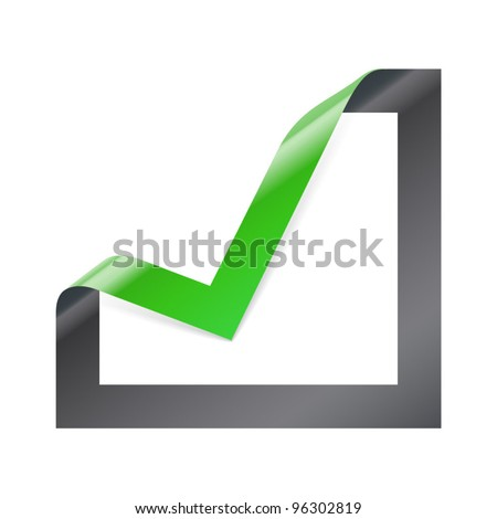 Checkbox icon with angle folded on square paper