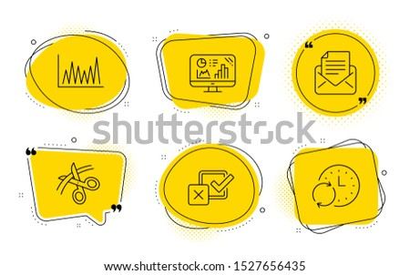 Checkbox, Scissors and Update time signs. Chat bubbles. Mail correspondence, Analytics graph and Line graph line icons set. E-mail newsletter, Growth report, Market diagram. Survey choice. Vector