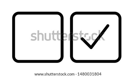 Checkbox set with blank and checked checkbox line art vector icon for apps and websites