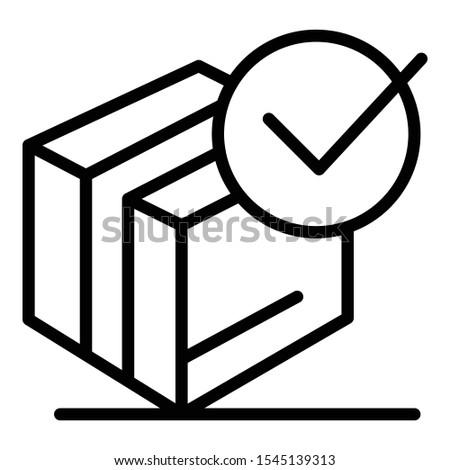Checked carton box icon. Outline checked carton box vector icon for web design isolated on white background