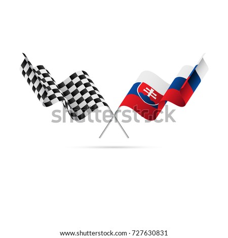 checkered and slovakia flags